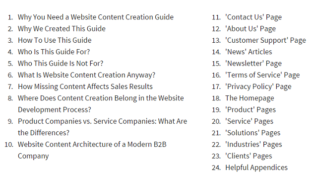 B2B Guide Table of Contents