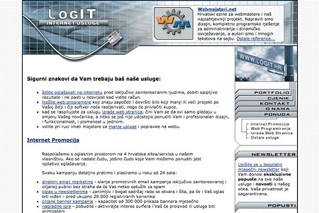 The first Logit.hr website from 2002