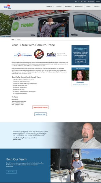 Example of a shorter Careers one-pager with rich, well-designed content