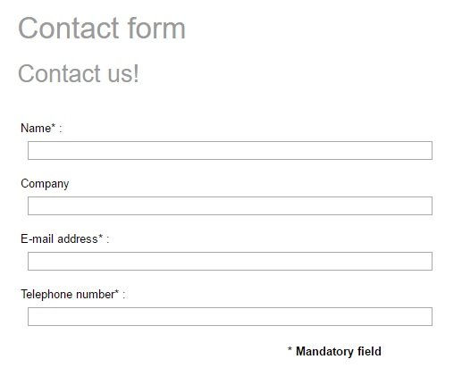 Contact form with phone number field